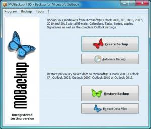 MOBackup. Перенос данных из Outlook