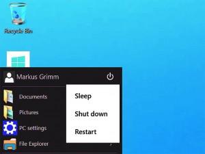 Справа наверху в меню Пуск вы найдете кнопку выключения компьютера. В Windows 8 ее нужно было хорошенько поискать