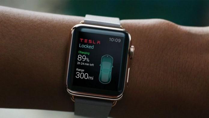 Приложение Tesla для часов AppleWatch позволяет взаимодействовать с электромобилем