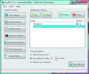Оставьте только нужное. Программа EasyBCD позволяет даже без серьезных навыков по работе с командной строкой отредактировать меню старта системы