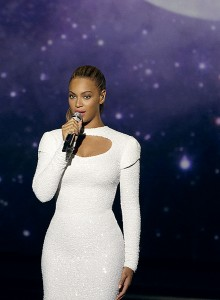 "Handout photo of Beyoncй performing onstage during the filming of the ""I Was Here"" video at the General Assembly at the United Nations in New York"