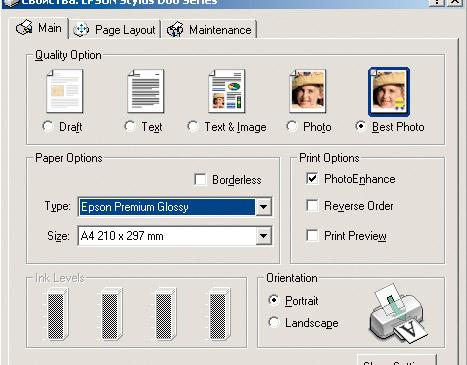 При помощи четырех выделенных параметров можно оптимизировать Epson Stylus D88 для фотопечати