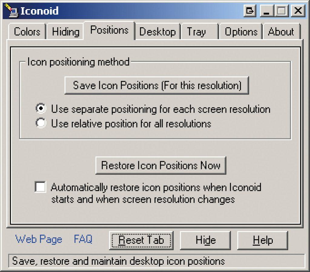 iconoidпоможет восстановить расположение иконок на Рабочем столе, изменившееся после установки iColorFol