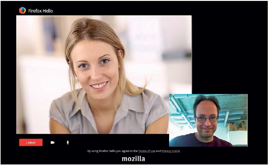 Видеочат в Firefox. Начиная с версии 34 в браузере Mozilla Firefox появился встроенный клиент под названием «Hello» для защищенных голосовых и видеозвонков