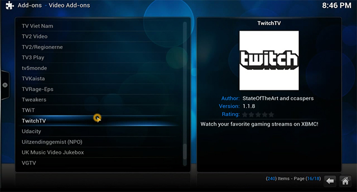 Twitch.tv on XBMC