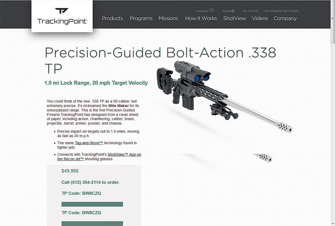 Беспроводной модуль оружия с системой самонаведения TrackingPoint имеет баг, через который хакер может задать винтовке новую цель.