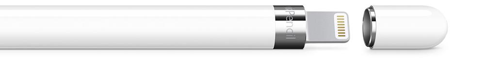 Под магнитным колпачком Apple Pencil расположен коннектор Lightning, который можно вставить в iPad Pro для подзарядки устройства.