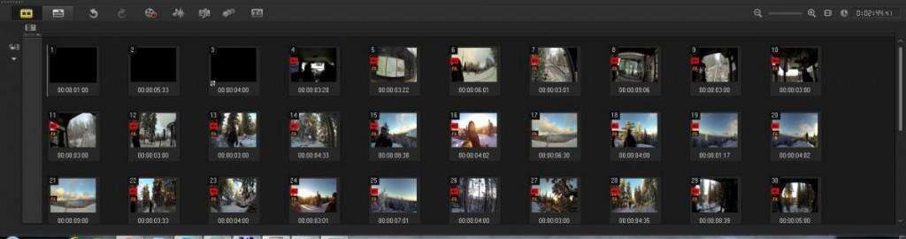 Ролики, смонтированные в проекте без звука, отмечаются в списке специмальным красным значком с динамиком и крестиком. Здесь же видно, к каким клипам применен эффект, например, FX.