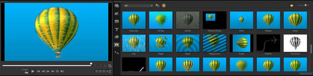 В комплекте с видеоредактором идет множество готовых эффектов для склейки клипов, а также наложения на картинку для придания моменту определенного настроения