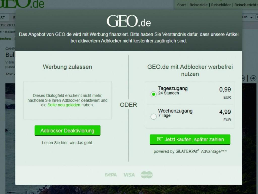 Вход с блокировщиком запрещен! Статьи на Geo.de доступны либо в платной версии, либо с рекламой. Образцом для запрета стал сайт Bild.de.