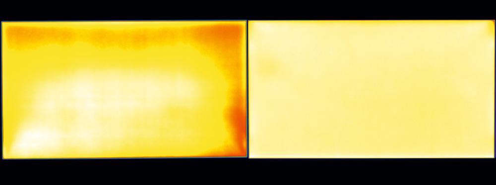 На некоторых дешевых мониторах (слева) направляющие слои и рассеиватели матрицы не могут равномерно распределять свет, испускаемый блоком подсветки, по краям изображения. С этим прекрасно справляются профессиональные мониторы (справа) стоимостью от 70 000 рублей.