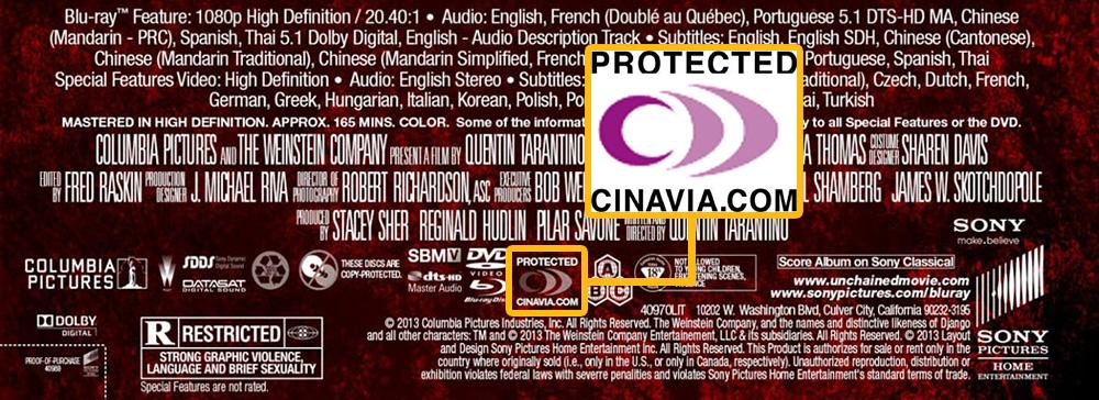 Уже в апреле 2014 года появились пиратские копии фильма «Джанго освобожденный» — несмотря на защиту Cinavia.