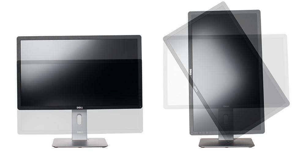 Монитор должен иметь возможность регулировки по высоте (слева), чтобы его верхний край был на уровне глаз. Функция Pivot (справа) позволяет повернуть монитор в портретный режим.