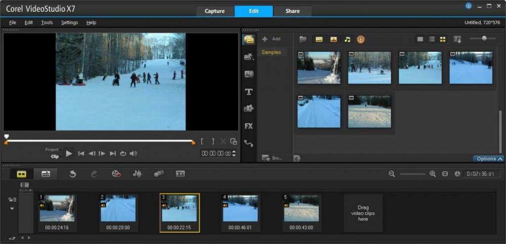 Размещение роликов проекта в режиме StoryBoard позволяет наглядно и последовательно выстроить клипы для последующего монтажа уже в режиме TimeLine View