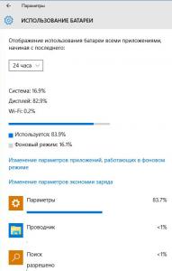 Windows 10 наглядно обобщает выходные данные Еnergy Estimation Engine в настройках