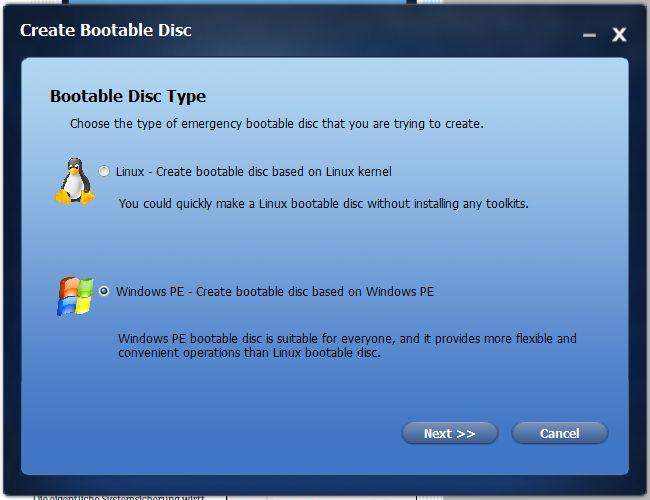 Linux или Windows PE – Backupper поддерживает оба варианта при создании аварийной системы