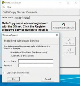 Сначала зарегистрируйте DeltaCopy как системную службу. Для этого вам понадобятся данные доступа к собственному аккаунту Windows