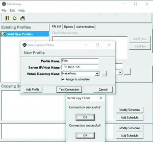 Для клиента создайте профиль с IP-адресом сервера и проверьте успешность соединения