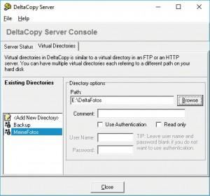 Теперь укажите целевую папку, в которую DeltaCopy впоследствии будет копировать файлы