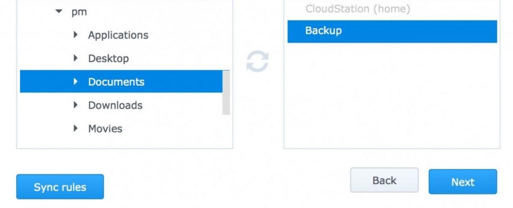 Для клиента на ПК установите, какие папки на вашем компьютере будет анализировать и синхронизировать Cloud Station