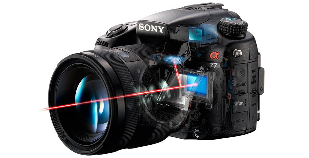 Зеркальные камеры Sony: Новейшие модели Alpha работают на технологии SLT с полупрозрачным зеркалом.
