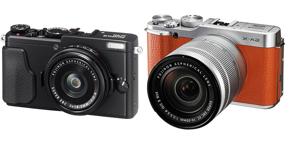 Камеры Fujifilm: Рекомендуем сразу две камеры: X70 (слева) и X-A2 (справа).