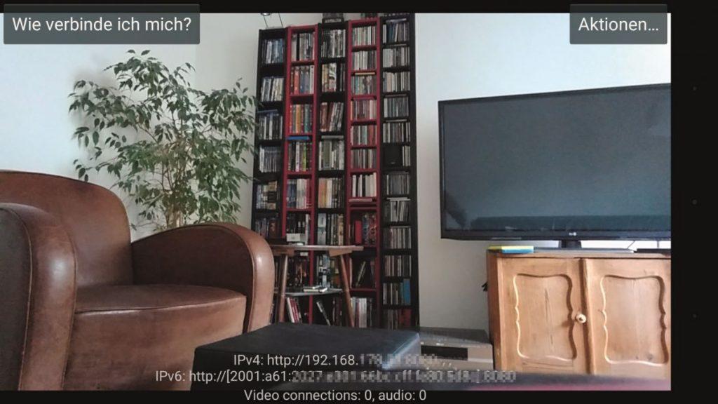 Handy wird Webcam Screenshot