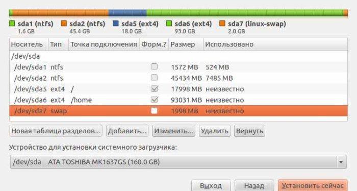 При проблемах с загрузкой Ubuntu приложите руку к созданию разделов при установке