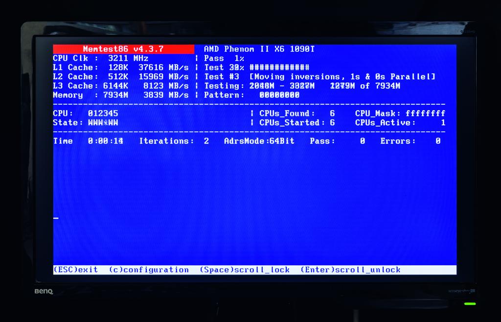 Тестируем модули памяти с помощью Memtest86. Программу можно загрузить с USB-накопителя, после чего она выполнит автоматическую проверку памяти. Программа поможет разобраться в неудавшихся процессах загрузки.