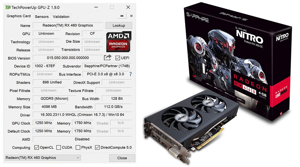 Sapphire Radeon RX 460 Nitro: все технические характеристики отображаются в программе GPU-Z.