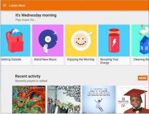 Интерфейс Google Play Music приятный и простой в использовании