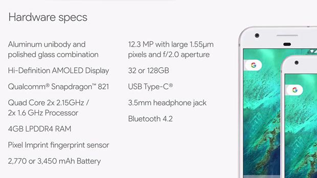 Память Google Pixel: в отличие от смартфона Apple, у Pixel есть только два варианта с разным объемом встроенной памяти — 32 Гбайт и 128 Гбайт