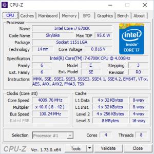 Intel Core i7-6700K: данные системной утилиты CPU-Z.