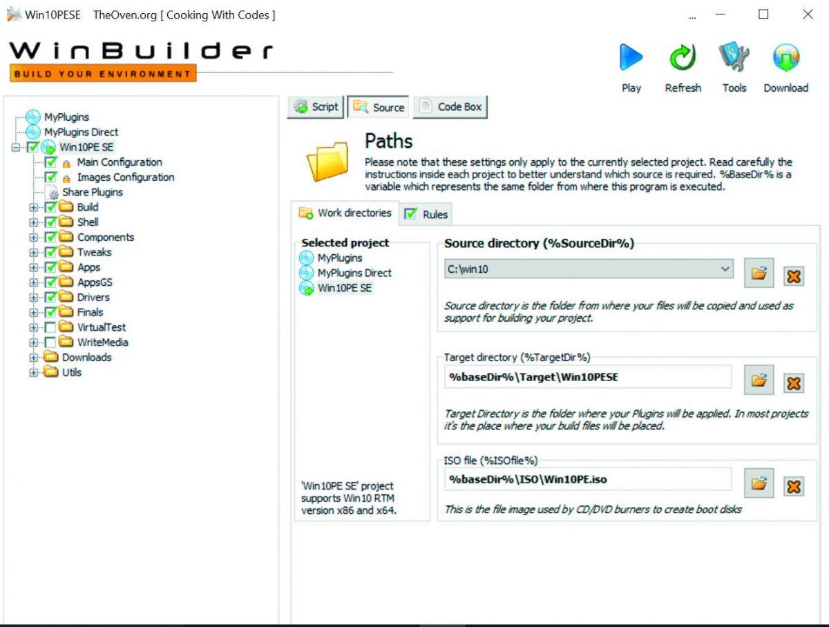 Основным параметром Win10 PE SE в главном модуле WinBuilder является путь к распакованному файлу Windows ISO