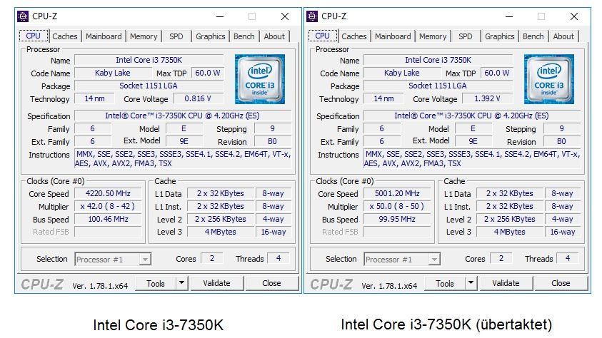 Cкриншоты из утилиты CPU-Z с разгоном и без него.