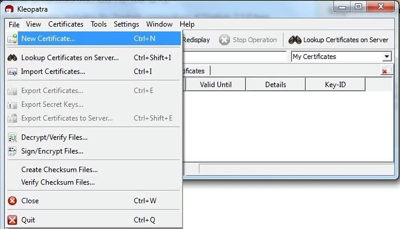 На стационарных компьютерах программа Kleopatra позволяет создать собственные PGP-ключи