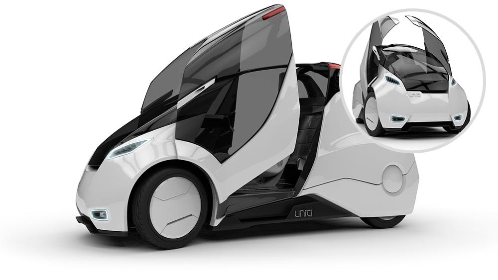 Ei-Mobil: шведский стартап Uniti планирует революцию электромобилей: 400 кг веса, скорость — 90 км/ч, запас хода — 150 км и лобовое стекло в качестве дисплея.