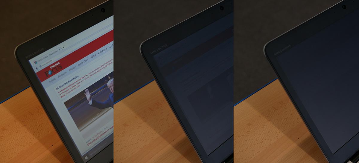 HP EliteBook 840 G3: без SureView, с SureView, с SureView и минимальной яркостью.