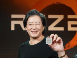 Исполнителный директор AMD Лиза Су держит Ryzen 7 1800X.