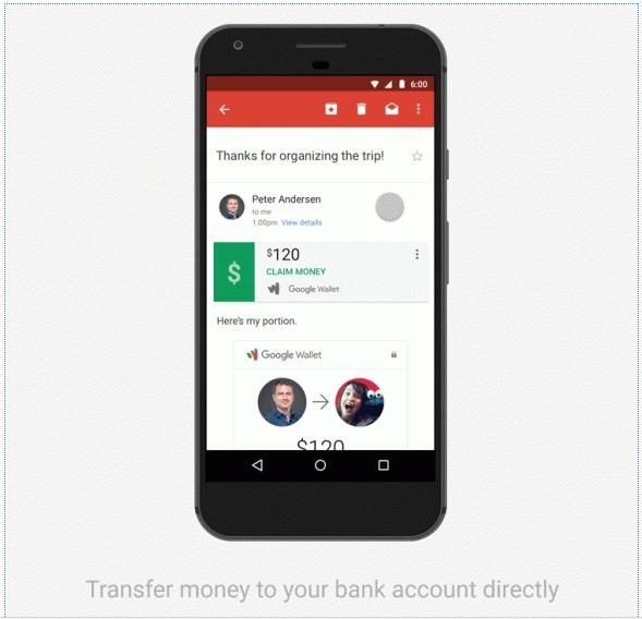 Приложение Gmail научилось отправлять письма с денежными вложениями