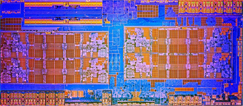AMD Ryzen 7 1800X в горизонтальной проекции: в центре мы видим два кластера из 4 ядер с возможностью манипуляции 8 потоками одновременно.
