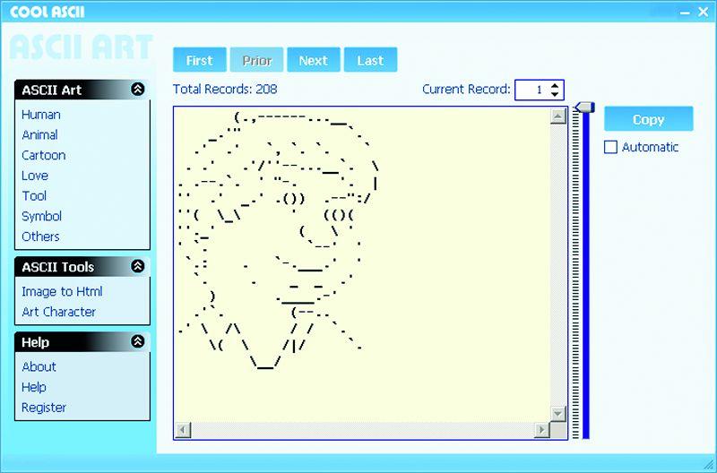 Cool ASCII содержит тысячи готовых рисунков самой разной тематики. Выбрав один из них, вы можете легко вставить его в почтовое сообщение