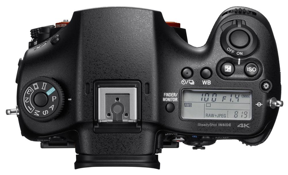Sony Alpha 99 II: дисплей на верхней панели отображает такую важную информацию, как параметры экспозиции.