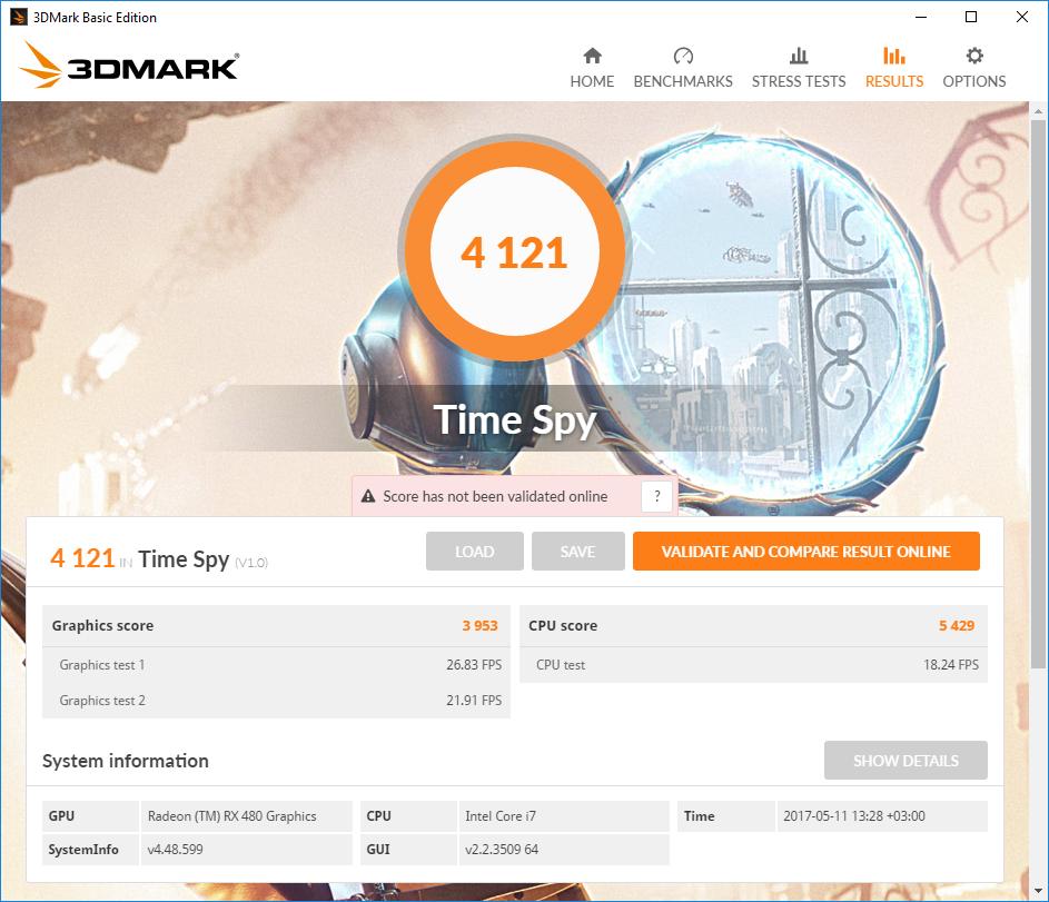 Gigabyte GA-Z270X-Gaming 7: тестовый пакет 3DMark TimeSpy