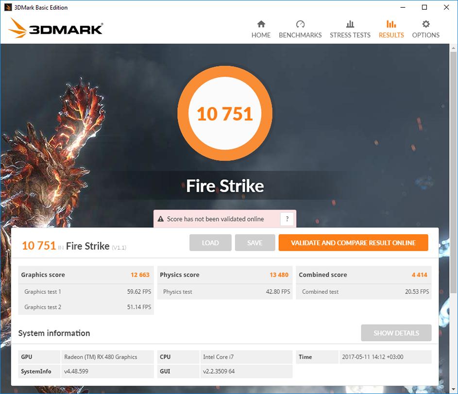 Gigabyte GA-Z270X-Gaming 7: тестовый пакет 3DMark FireStrike