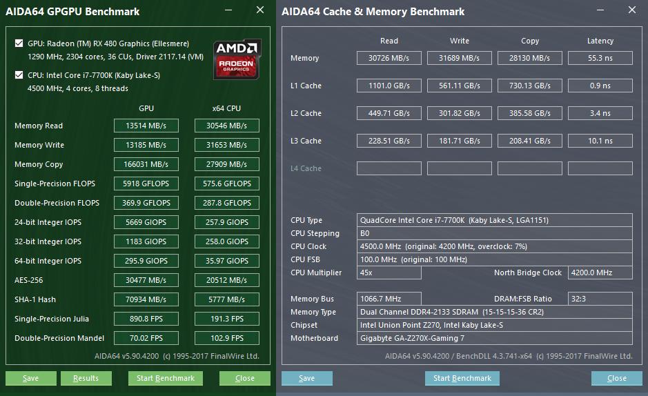 Gigabyte GA-Z270X-Gaming 7: тестовый пакет AIDA64