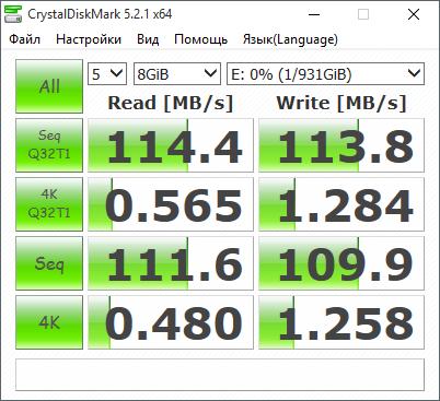 Измерение скоростных характеристик при подключении по USB 3.0