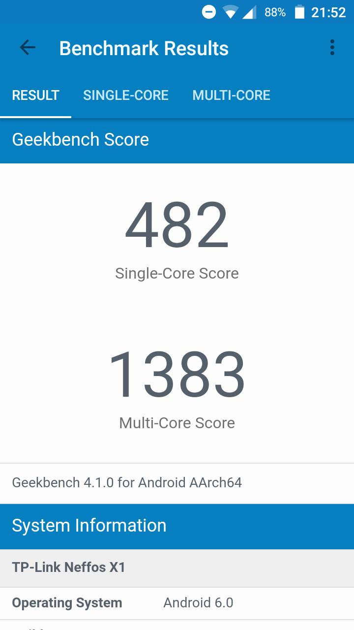 Geekbench 4: Neffos X1