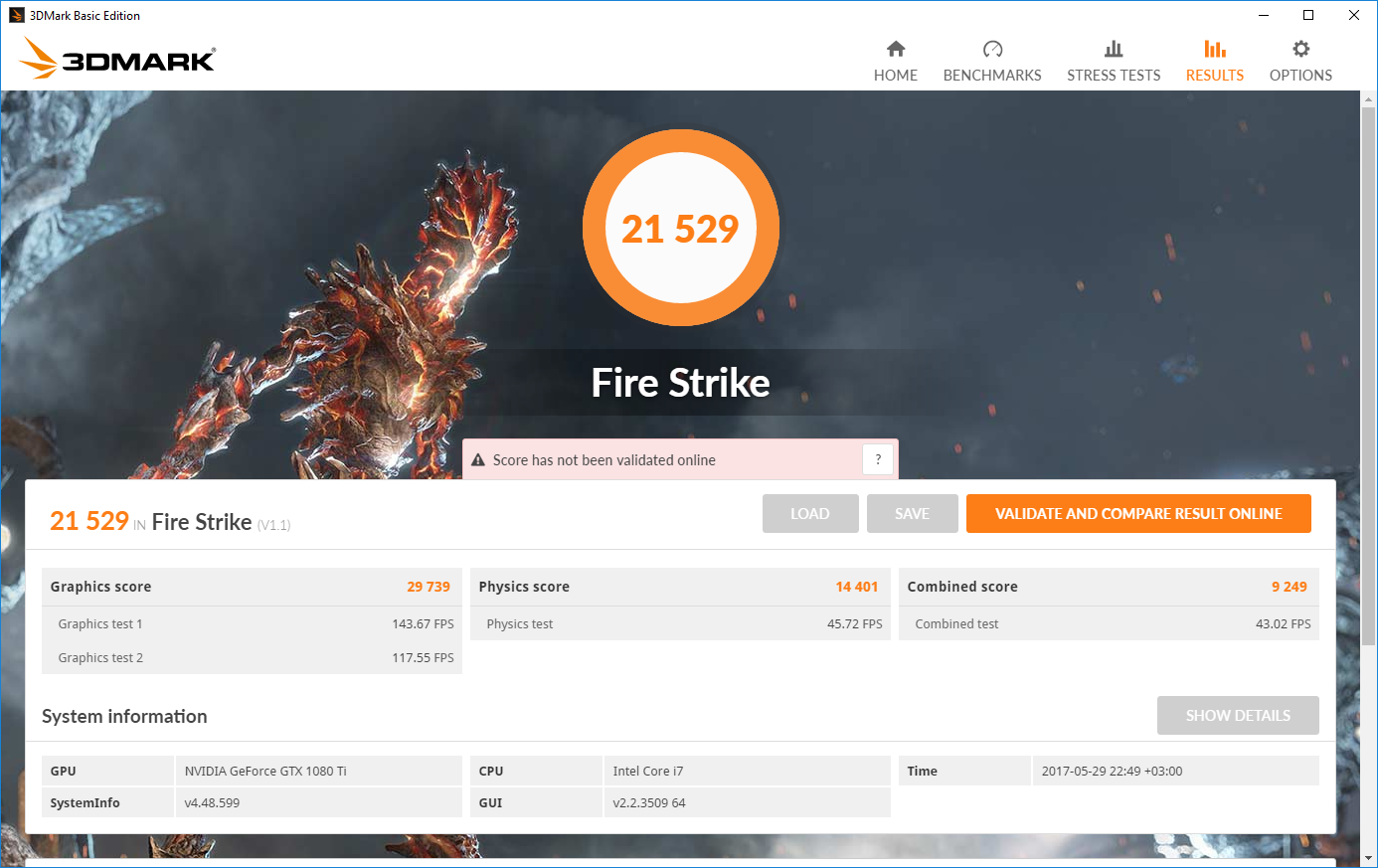 3DMark Fire Strike: Palit GeForce GTX 1080 Ti GameRock