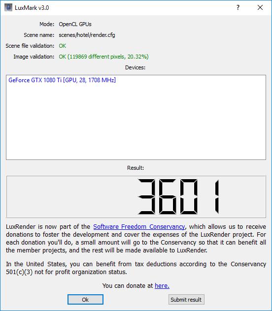 LuxMark: Palit GeForce GTX 1080 Ti GameRock
